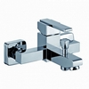 chrome single handle faucet and wall bracket - bath and shower