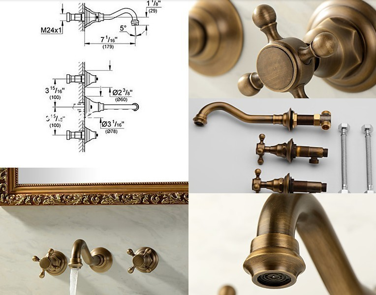 Rustic brass wall faucet mixer (in 3 pieces) - CHEAPATLEAST