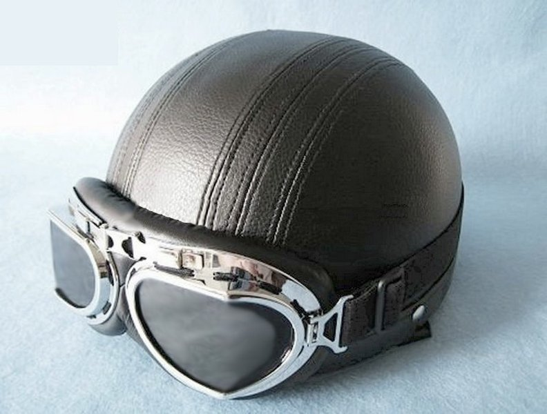 casque bol retro moto vintage scooter vespa harley doubl cuir. Black Bedroom Furniture Sets. Home Design Ideas