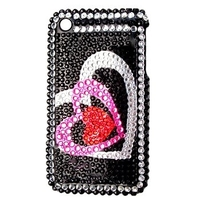 "Back cover ""Heart / rhinestone"" Black for Iphone 3"