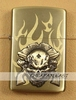 oil Storm Lighter, Zippo Style, Metal Brushed Copper - cards, Dice and Skull + Guns - pattern