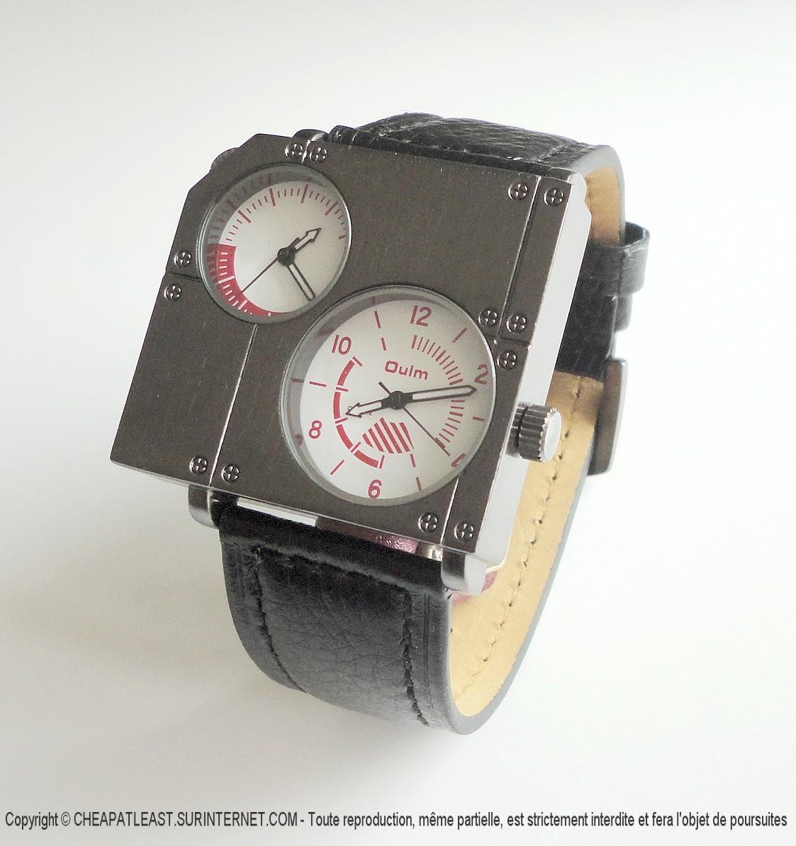 montre design double cadran bracelet cuir noir cheapatleast. Black Bedroom Furniture Sets. Home Design Ideas