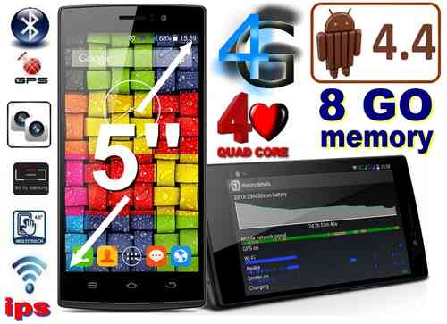 "SMARTPHONE THL 4G - ANDROID 4.4 - 5"" HD LED - QUAD CORE IPS 8GO ROM"