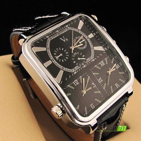 grosse montre homme triple cadran bracelet noir cheapatleast