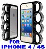 Coque Iphone 4 / 4s - Poing Américain - Noire + Strass