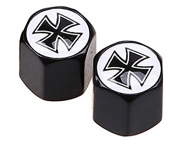 "2 Valve Caps ""Iron War Cross"" For Car / Motorcycle / Bike"