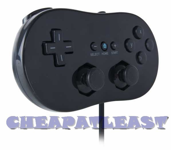 classic controller for nintendo wii console black cheapatleast. Black Bedroom Furniture Sets. Home Design Ideas