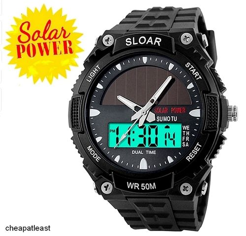 Solar Sport Watch Dual Time Multifunction