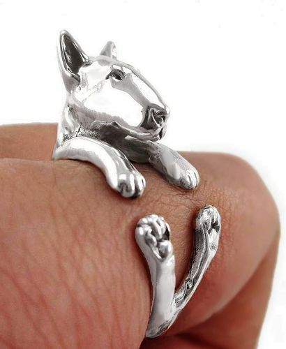 3D Bull Terrier Dog Ring - Adjustable Size - Silver Metal