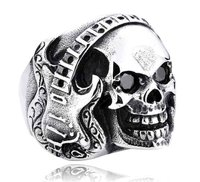 Steel Rock Ring skull and electric guitar 3D shaped