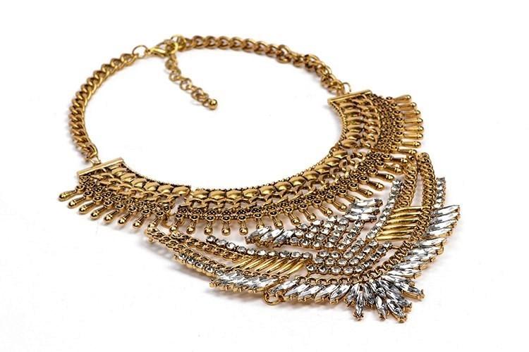 Vintage Chaîne Dorée Strass Cristal Charme Collar Choker Statement Bib Collier