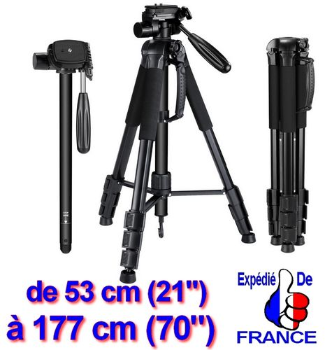 "Tripod 21"" to 70"" + 134cm monopod + 360° 3D Head Mount Photo Video"