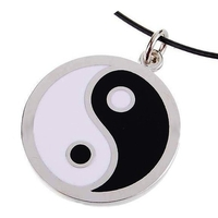 Necklace with Yin Yang Pendant enameled metal