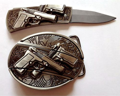 Belt Buckle with integrated Knife Guns Gang