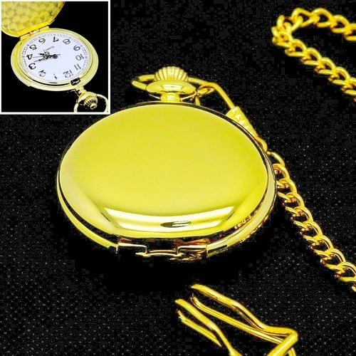 Classic Pocket Watch Smooth Gold