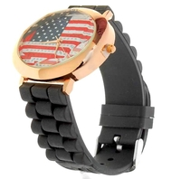 Metal + silicone Watch - usa united states americcan flag