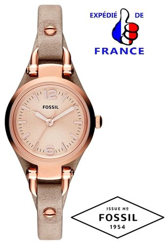 Montre Femme FOSSIL GEORGIA Mini - Cuir beige & or rose