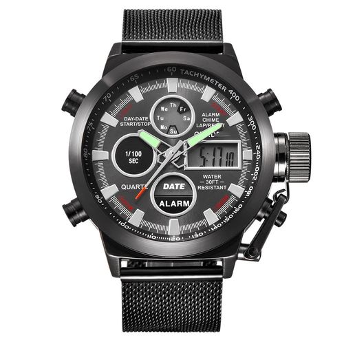 Military Sport Design Watch Dual Time Milanese Mesh Strap