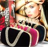 party hard Handbag clutch  Velvet, Handle knuckle rhinestone