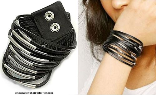 Bangle Multi Rows 13 Strands PU Leather + Metal