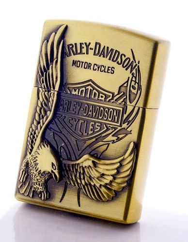 Gas Lighter Zippo Inspiration Eagle 3D & Engraving Harley Patch