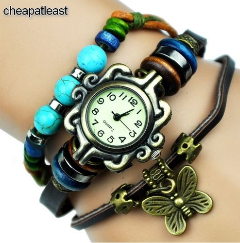 Watch Vintage Hippie Chic Boho Leather Bracelet With Beads