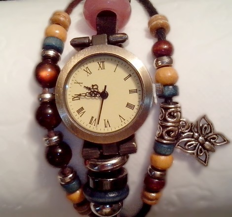 cheap Watch Vintage Hippie Chic - Leather Bracelet With Beads