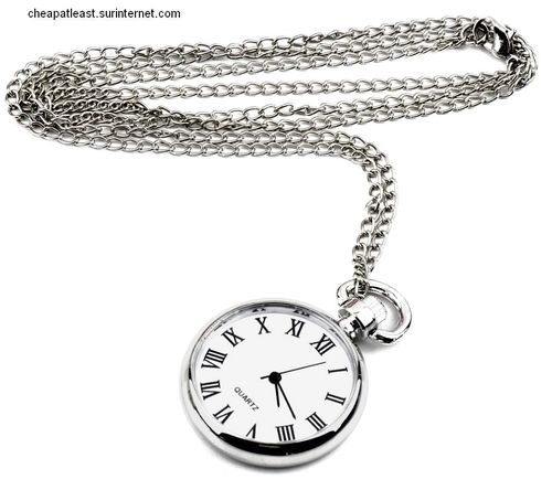 Long Necklace with Small Pocket Watch Pendant