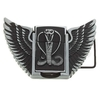 Snake + Wings Embossed Metal Belt Buckle with Oil Lighter