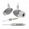 In-ear stereo headphones with microphone (headset) for iphone silver & White