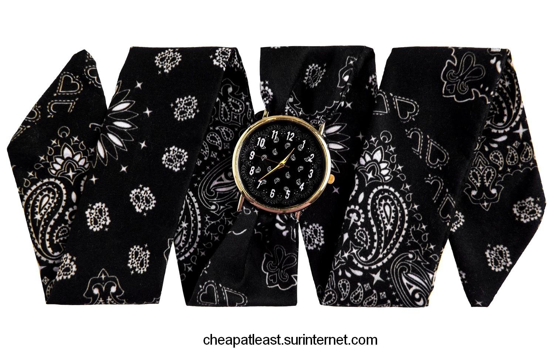 Fashion Rock Wrist Watch Strap Fabric Style Bandana Black