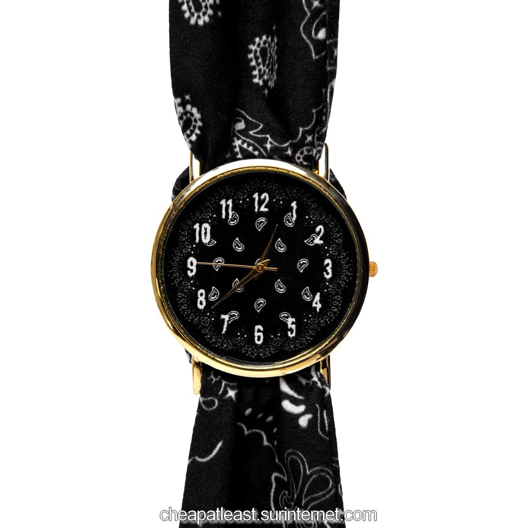 Fashion Rock Wrist Watch Strap Fabric Style Bandana Black ...