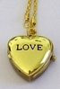 "Necklace Gold Heart Watch Shaped Pendant ""Love"" Engraved"