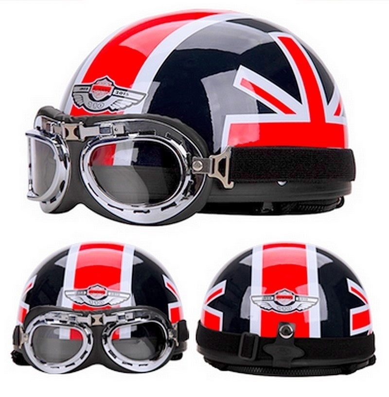 casque bol r tro moto scooter vintage drapeau anglais union jack. Black Bedroom Furniture Sets. Home Design Ideas