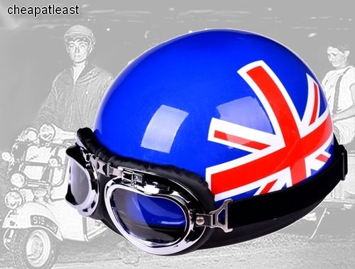 Vintage Retro Helmet Motorcycle British UK Flag Cafe Racer