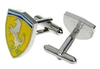 Chromed stainless Steel Cufflinks Ferrari Logo - cuff links buttons