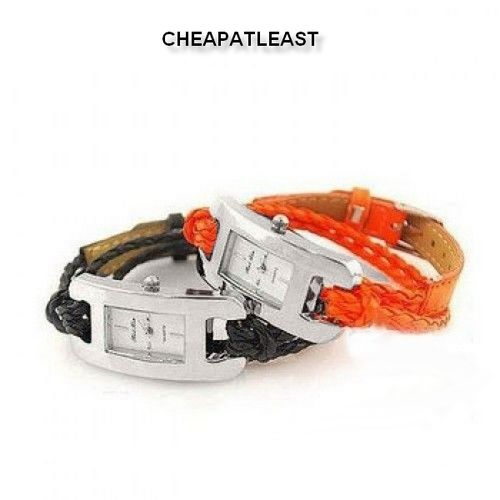 Wrist Watch with Leather Rope Braided Strap - Many colours
