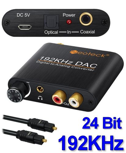 Digital to Analog 192 KHz Converter Toslink / Coaxial input to RCA output