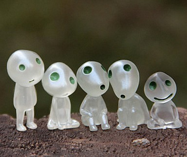"Set of 5 Action Figures Kodama / Sylvain from ""Princess Mononoke"""