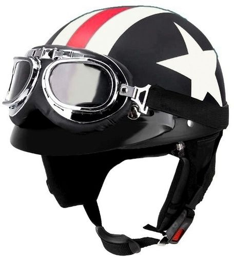Casque Moto Bol Rétro Old School Vintage USA Cafe Racer Biker