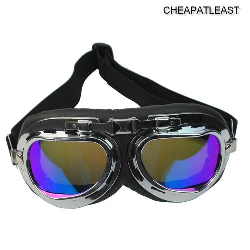 Motorcycle Goggles Retro Vintage - Bomber Style Iridescent lens