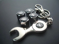 tire valve caps with stylish car mark and keychain