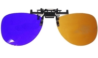 Pair of 3D vision glasses clip-on for glasses brown and blue
