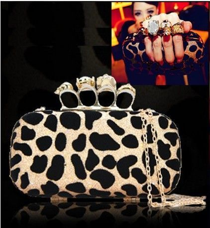 party Clutch hard Handbag leopard / panther Handle knuckle
