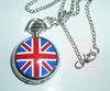 Necklace mini pocket watch UK British flag Union Jack