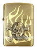Storm lighter fuel, Zippo style, brushed metal copper - Flame and skull pattern(1)