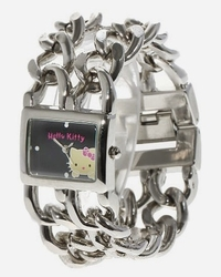 Large montre bracelet double gourmette Hello Kitty
