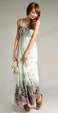 Long Chiffon Flowers Printed Dress Boho Bohemia Chic