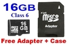 MicroSD HC Memory Card 16GB Class 6 SD Card + SD Adapter + Box