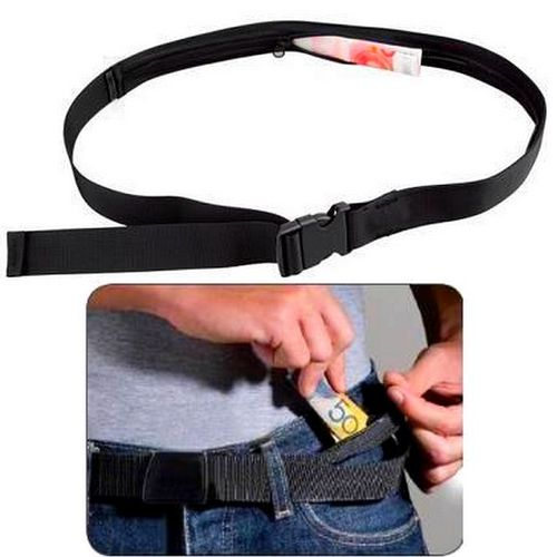 Travel Stash Nylon Belt with hidden secret pocket for Notes